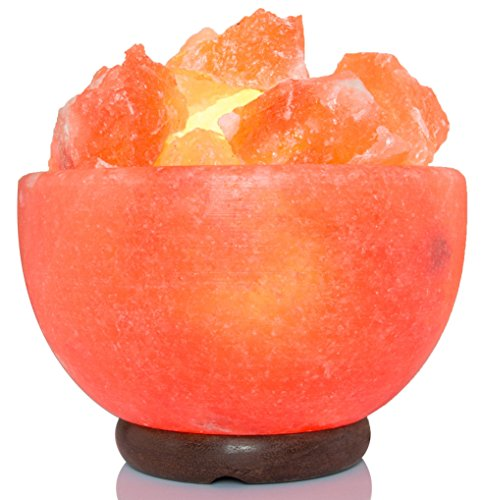 AMSkart Pink Crystal Himalayan Salt Feeling Bowl Lamp with Dimmer Switch and Wooden Base, 7 x 6.5 x 6.5 - Inch, 8 - 10 lbs