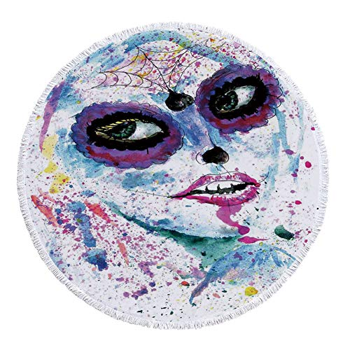 iPrint Thick Round Beach Towel Blanket,Girls,Grunge Halloween Lady with Sugar Skull Make Up Creepy Dead Face Gothic Woman Artsy,Blue Purple,Multi-Purpose Beach Throw]()