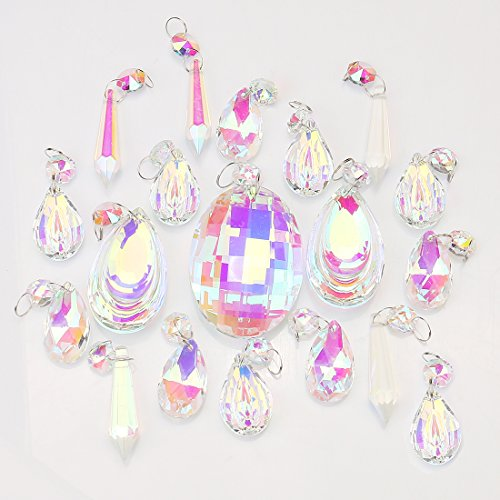 H&D 18pcs Colorful Lamp Prisms Parts with Octagon Bead Chandelier Glass Crystals Hanging Drops Pendants by H&D (Image #6)