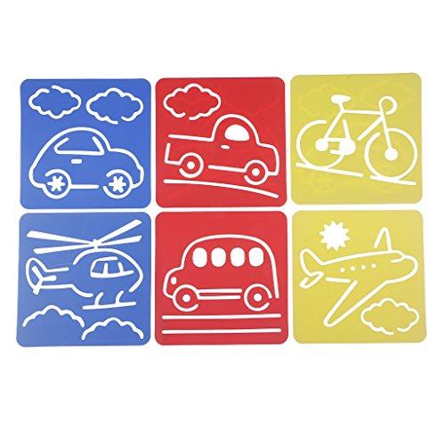 Perfk 6個入り 図面テンプレート 絵画ステンシル 両親と子供の交流 知育おもちゃ 描画ルーラー DIY定規 アート 教育アートツールセット