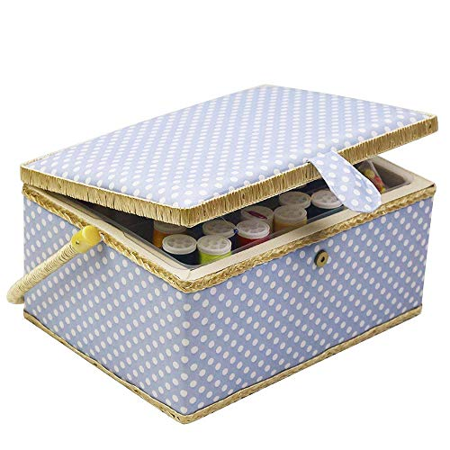 Review D&D Large Sewing Basket Organizer with Sewing Kit Accessories, Blue