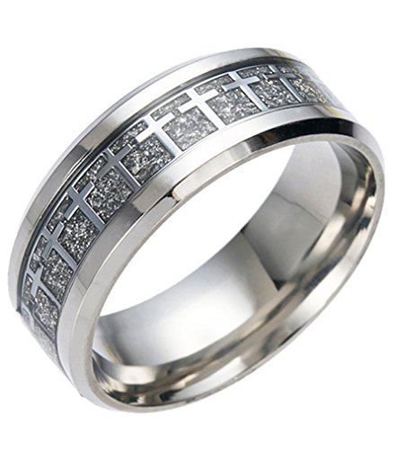 LineAve Men's Stainless Steel Cross Ring 8mm Wedding Band Comfort Fit Size 11, (Cross Stainless Steel Wedding Bands)