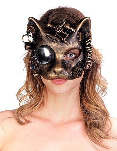 Cat Face Costumes (Arsimus Victorian Steampunk Cat Face Masquerade Mask Rave Gears Industrial (Gold))