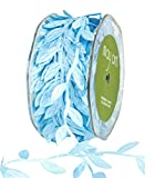 May Arts Cut Out Leaves Ribbon 1''X30 Yards-Light Blue