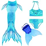 LHHY Mermaid Tails for Swimming with Monofin - Mermaid Tail Swimsuit for Gilrs 4PCS Set by Bule and Green, 140(10-12yeas)