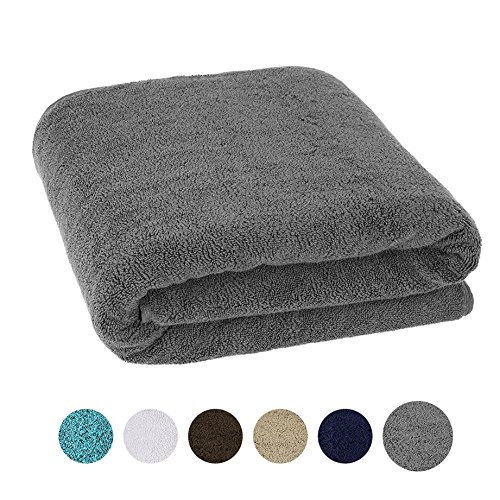 40×80 Inches Jumbo Size, Thick and Large 650 GSM Bath Sheet 100% Genuine Cotton, Luxury Hotel & Spa Quality, Absorbent and Soft Decorative Kitchen and Bathroom Turkish Towels, Charcoal Grey