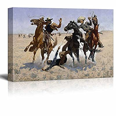 Aiding a Comrade Wild West Cowboy Painting by Frederic Remington - Canvas Print Wall Art Famous Painting Reproduction - 12