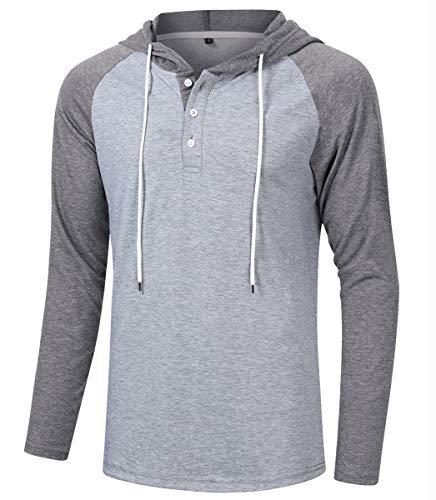 Satankud Mens T Shirts Raglan Sleeve Henley Hoodie Shirt Loose Fit M.Light Gray/A.Dark Gray XXL ()