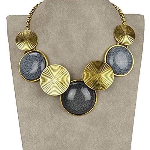 SUMAJU VTG 18KGP Gold Tone Round Choker Big Drop Acrylic Chain Bib Necklace for Women