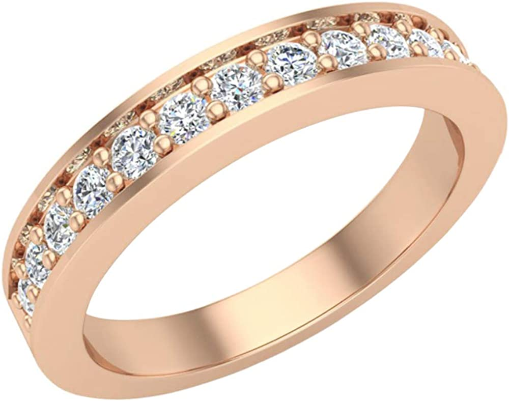 This is a graphic of Wedding Band for Women Pavé set Diamonds 42.42 mm Wide Matches Diamond Engagement Ring 42K Gold