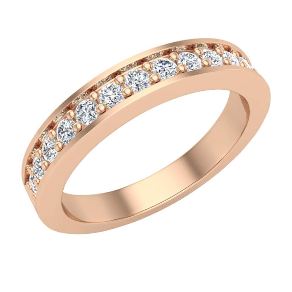 0.33 ct tw Round Brilliant Diamond Wedding Band Ring 14K Rose Gold (Ring Size 8.5) by Glitz Design