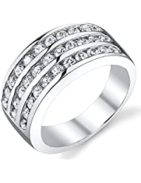 10MM Sterling Silver Men's Cubic Zirconia Wedding Band Ring Sizes 7 to 12