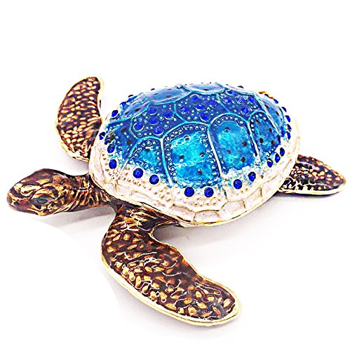 Waltz&F Sea Turtle Crystal Studded Pewter Jewelry Trinket Box Bejeweled Hand-painted Ring Holder Mother`s day (Baby Sea Turtle Box)