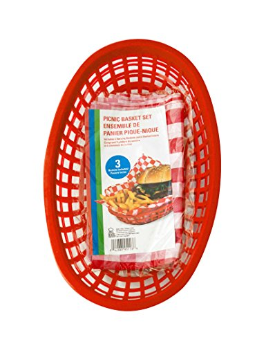 Best Brands Sandwich and Chips Picnic Basket Set, 6 Liners and 3 Baskets, Red