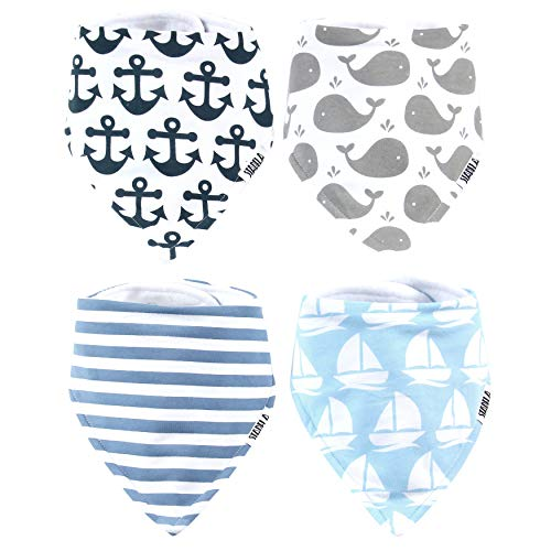 Stadela Baby Adjustable Bandana Drool Bibs for Drooling and Teething Nursery Burp Cloths 4 Pack Baby Shower Gift Set for Boys - Nautical for Sailor with Whales Anchors Stripes Boats - Nautical Cloth