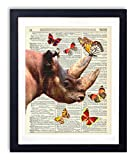 Rhino With Butterflies Upcycled Vintage Dictionary Art Print 8x10