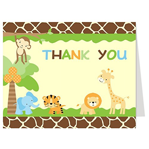 Folding Note (Jungle Thank You Cards, Baby Shower, Birthday, Boy, Gender Neutral, Green, Orange, Zoo, Monkey, Lion, Tiger, Elephant, Giraffe, Sprinkle, Set of 50 Folding Notes with White Envelopes, Jungle Safari)