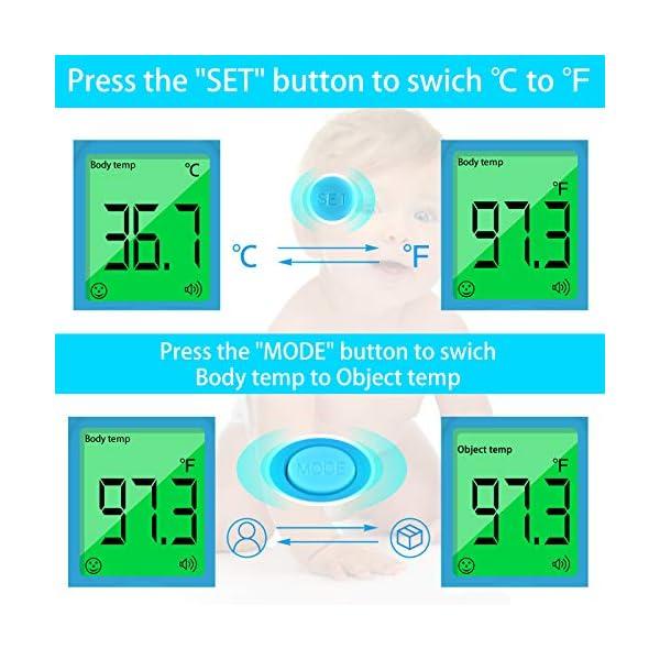 U-Kiss Thermomètre Frontal Infrarouge, Thermomètre Numérique Infrarouge avec Affichage LCD Tricolore, Fonction Mémoire…