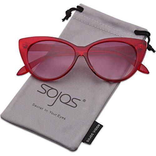 Burgundy Gradient Lens (SojoS Retro Vintage Cateye Sunglasses for Women Plastic Frame Mirrored Lens SJ2040 With Burgundy Frame/Gradient Red Lens)