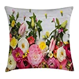 Lunarable Easter Throw Pillow Cushion Cover, Flowers Blooms Frame on White Timber Background Valentines Romance Petal Picture, Decorative Square Accent Pillow Case, 36 X 36 Inches, Pink Green
