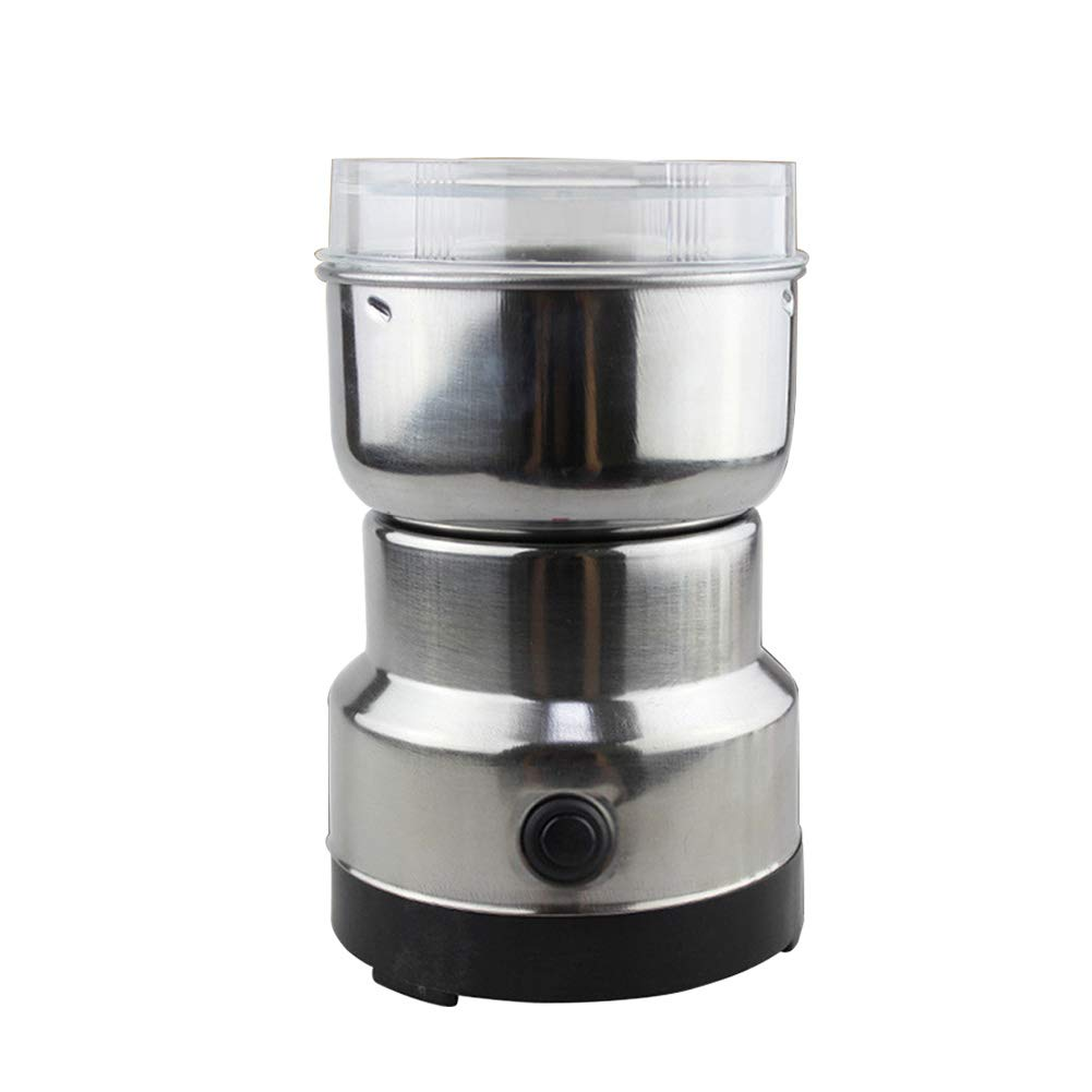 Power Burr Coffee Grinders Stainless Steel Eletric Grinder for Coffee beans,Soybeans,Peanuts,Sesame,Rock Sugar,Pills(Silver)