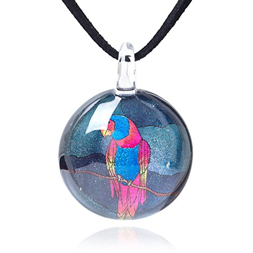 Chuvora Hand Blown Glass Jewelry Macaw Parrot Bird Round Pendant Necklace, 17-19 inches Leather Cord