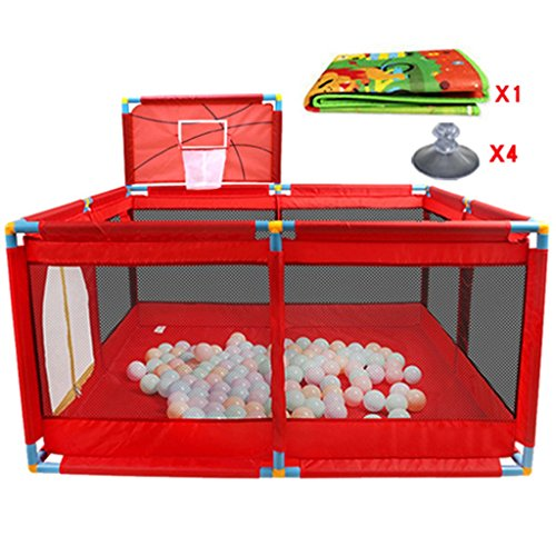 Price comparison product image Baby Playpen With Basketball Hoop / Floor Mat Foldable Portable Room Divider Child Kids Barrier With Door / Zip In Blue,  Oxford Cloth (Color : Red)