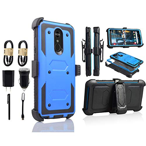 LG Stylo 4 Case, Heavy Duty Holster Armor Case, Shockproof Protection Case Cover with Belt Swivel Clip Kickstand for LG Q Stylo 4 [Value Bundle] (Blue) from 6goodeals