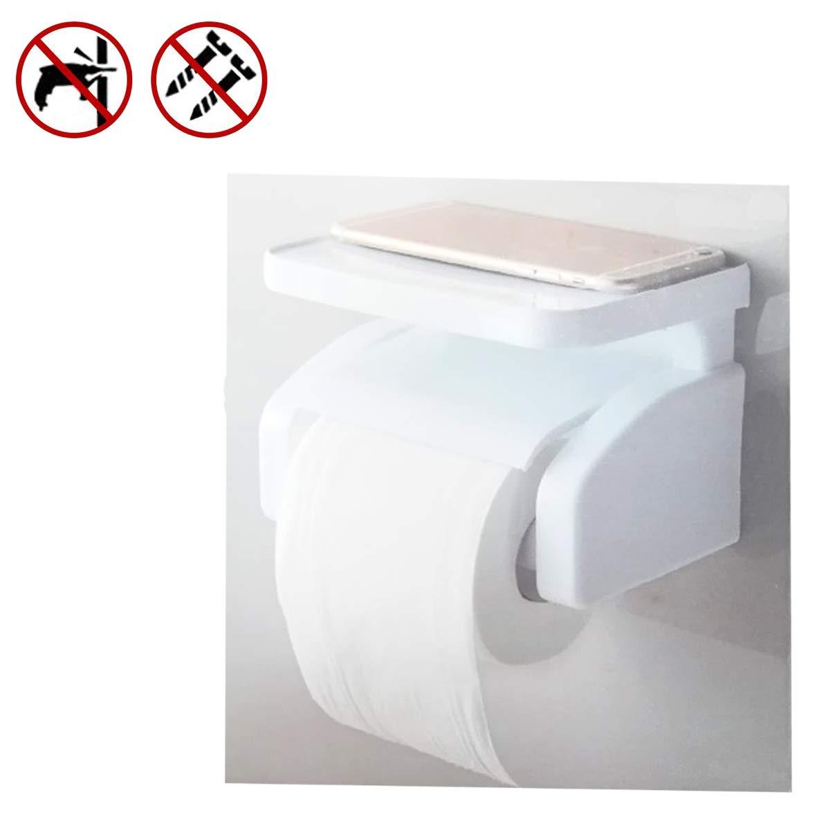 Cisne 2013, S.L. Portarollos con Ventosa de succión Fuerte para baño y Estante para móvil. Medidas 17x12,4x12,6cm. Color Blanco.: Amazon.es: Hogar