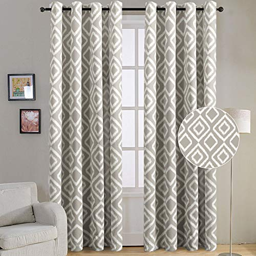Flamingo P Blackout Curtain Panels Ikat Fret Ultra Sleep Well Blackout Thermal Insulated Curtains for Living Room Thick and Soft Antique Grommet Curtain Greige Dove Pattern W52 x L84 inch 1 Pair