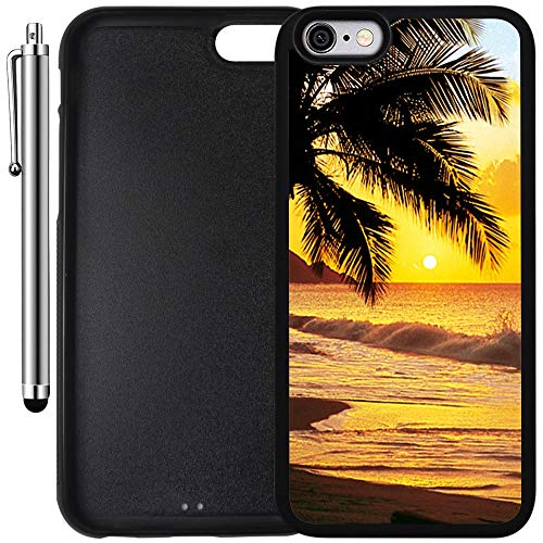Custom Case Compatible with iPhone 6/6S (4.7 inch) (Beach Scene at Sunset Water Palm Tree) Edge-to-Edge Rubber Black Cover Ultra Slim | Lightweight | Includes Stylus Pen by Innosub -