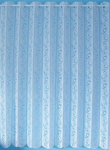 DAISY CHAIN LOUVRE BLIND WHITE LACE FLORAL NET CURTAIN DRAPE 72 X63