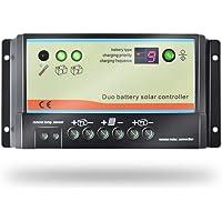 EPEVER® 10A PWM Controlador de Carga Solar 12V/24V para Regulador Solar de Carga de Doble Batería con Indicador LED para Vehículos Recreativos, Caravanas y Barcos - EPIPDB-COM-10
