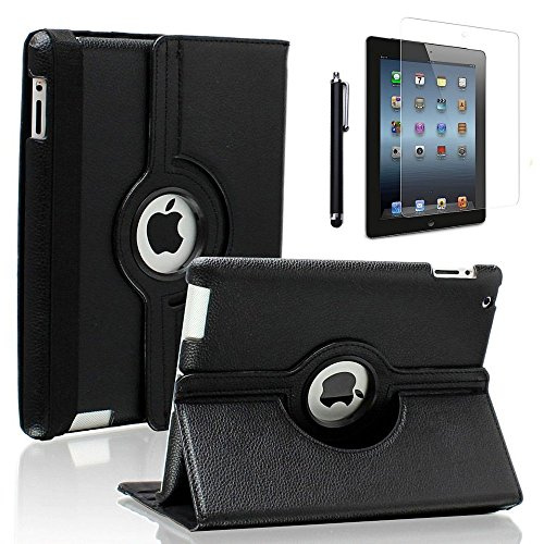 Viero iPad 9.7 Case 2018/2017, iPad Air Case 360 Degree Rotating Multiple Angles Stand Smart Protective Hard Back Auto Sleep Wake Cover for iPad 9.7 inch (6th Gen, 5th Gen)/ iPad Air, Black