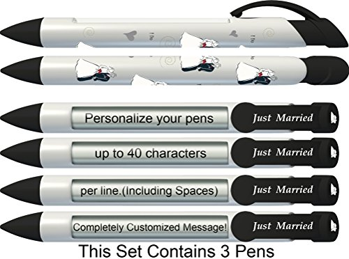 Wedding Pen by Greeting Pen- Personalized Bride and Groom Rotating Message 3 pack P-WP-01-3