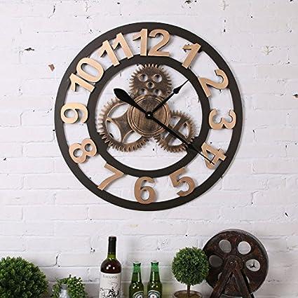 Aiar Industrial viento hogar digital reloj de pared Vintage Old madera manualidades decorativo reloj de pared