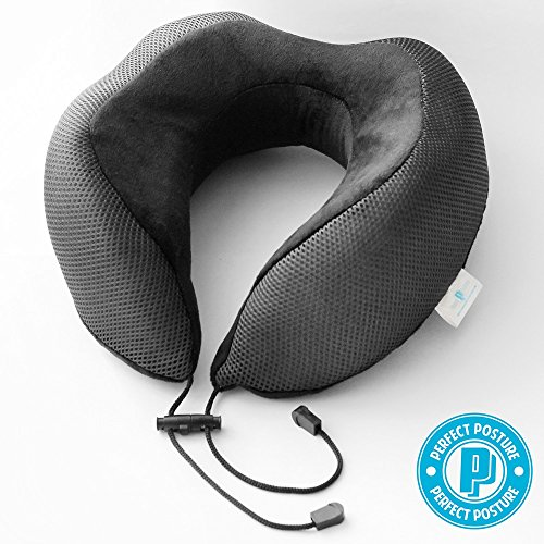 NEW DESIGN Travel Neck Pillow: #1 Recommended, NeverFlat Memory Foam, AngelSoft Fabric, CoolTec side mesh, Premium Materials, Adjustable Tie, Sleek Colors and Design.