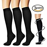 Compression Socks,(3 pairs) Compression Sock for Women & Men - Best For Running, Athletic Sports, Crossfit, Flight Travel