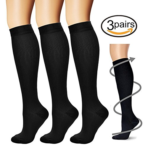 Compression Socks,(3 pairs) Compression Sock for Women & Men - Best For Running, Athletic Sports, Crossfit, Flight Travel (Womens Flight Compression Socks)