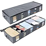 under the bed storage Lifewit Large Capacity Under Bed Storage Bag with 5 Clear Window for Clothing, Shoes, Blankets, Clothes, Sweaters, Set of 2, Grey