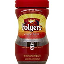 Folgers Instant Coffee Crystals, Classic Roast, 8 ounce