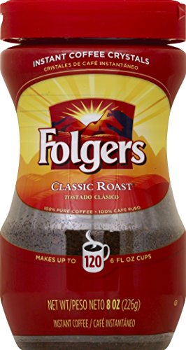 - Folgers Instant Coffee Crystals, Classic Roast, 8 ounce
