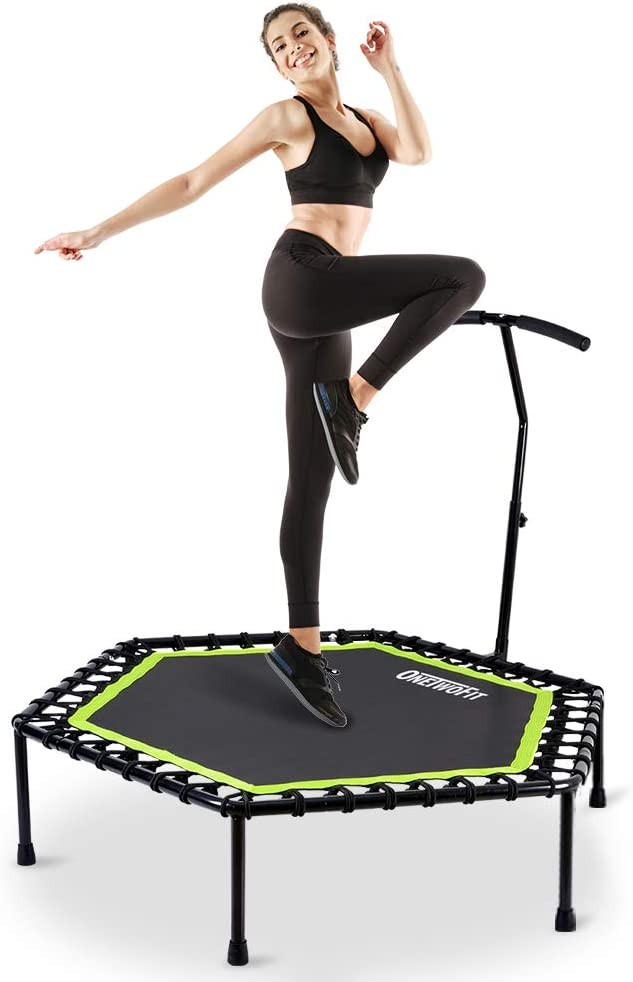 "ONETWOFIT 48"" Silent Mini Trampoline with Adjustable Handle Bar"
