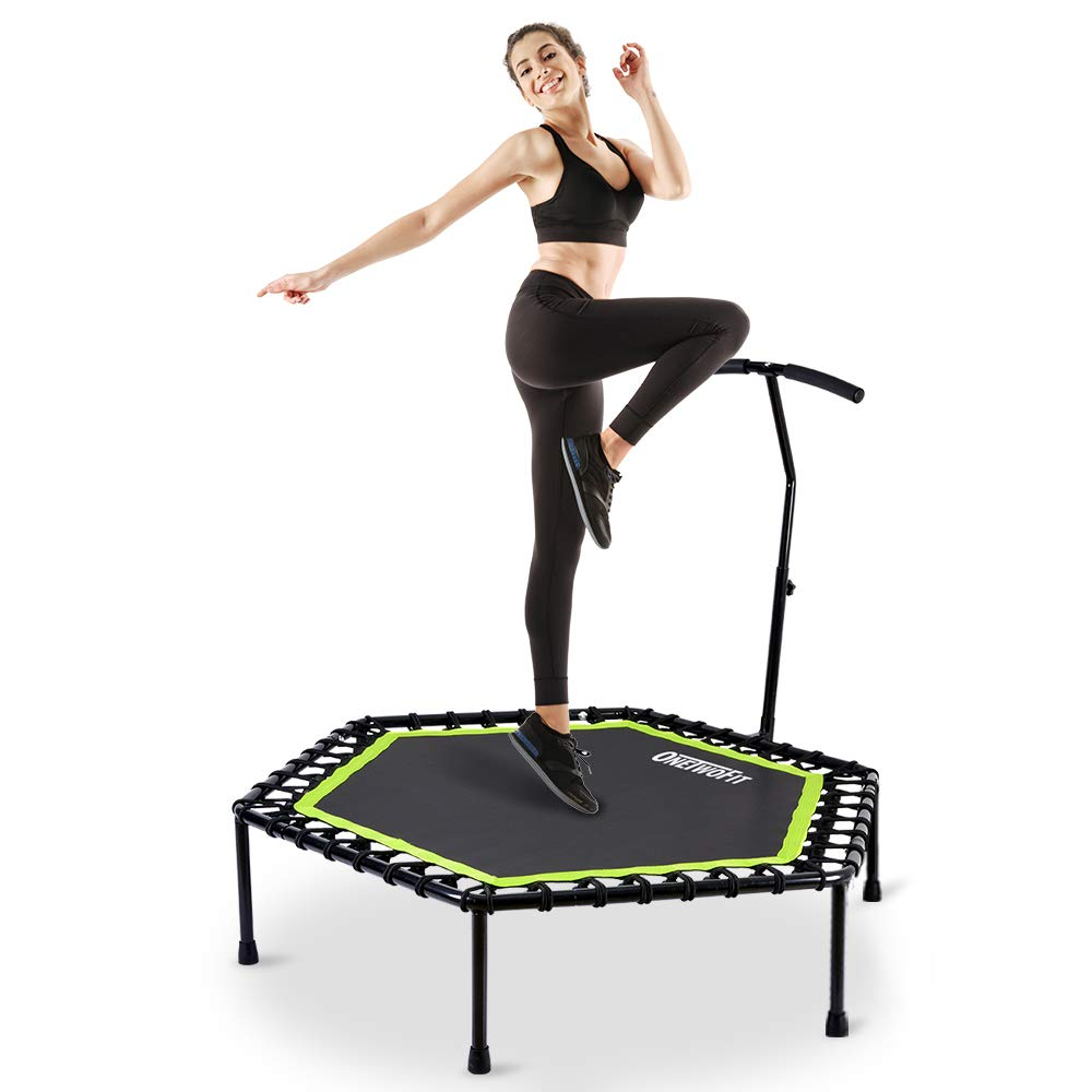 ONETWOFIT 48'' Silent Mini Trampoline with Adjustable Handle Bar Fitness Trampoline Bungee Rebounder Jumping Cardio Trainer Workout for Adults or Kids OT064