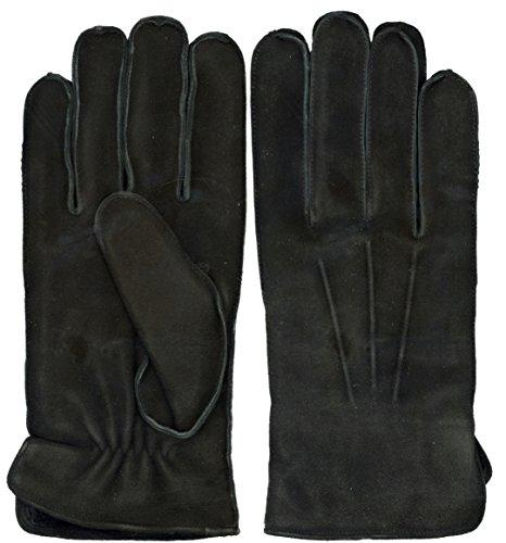 Grandoe Shearling Gloves - GRANDOE Men's OAKBROOK Genuine SUEDE Leather Glove with Real SHEARLING FUR Cuff (Black, Medium)