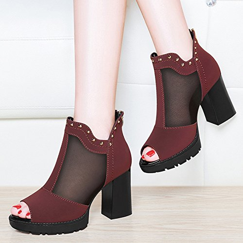ladies' red UE da RUGAI Coreano sandali Tacchi estate ruvida donna scarpe Wine PtxqxZOwd