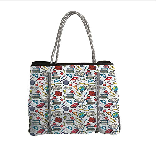 Neoprene Multipurpose Beach Bag Tote Bags,Kids,Elementary School Theme Student Supplies Globe Paints and Brushes Books Education Decorative,Multicolor,Women Casual Handbag Tote ()