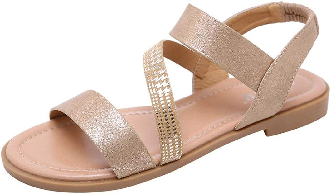 Sandalias Planas para Mujer Calzado De Verano con Tacón Bajo y Punta Abierta Calzado De Vacaciones Citas Informales para Mujer Zapatos Sin Cordones