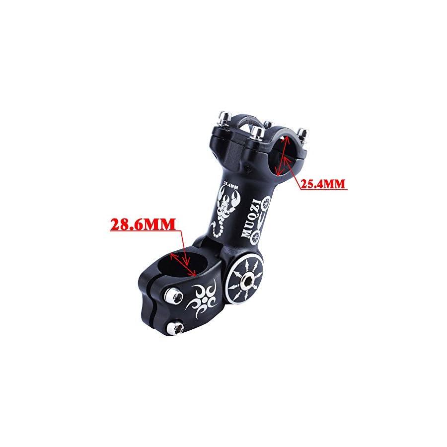 MUQZI Bicycle Bike Adjustable Stem 25.4MM Mountain Bike Road Length 110mm, 0/60 Degree, Black (25.4MM)