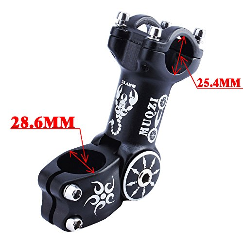 MUQZI Bicycle Bike Adjustable Stem 25.4MM Mountain Bike Road Length 110mm, 0/60 Degree, Black (25.4MM) by MUQZI